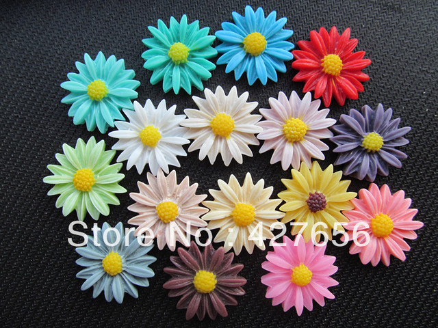 16pcs Multiclor Colors Flatback 27mm Resin Sunflower Cabochon/Cameo Pendant Charm/Finding,fit Base Setting Tray ,DIY  Accessory