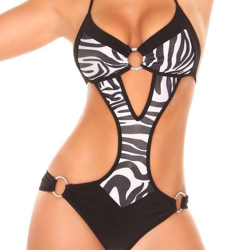 Sexy One Piece Für Frauen Monokini Metallschlaufe Badeanzug Halter Einstellbare Badebekleidung 4 Farben Leopardenmuster Brasilianischer Badeanzug