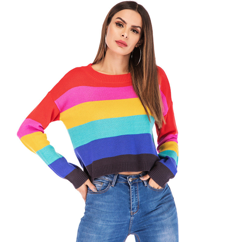 Cute Knitted Rainbow Striped Cropped Sweater for Women Kawaii Ladies Knit Multi Color Colorful Crop Pullover Jumper Oversized|Pullovers| |  - title=