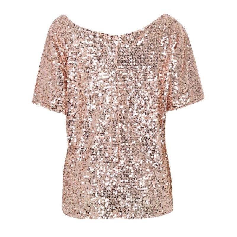 Women Summer Fashion Shiny Blouse Causal Sequin Top Shirt Female Three Quarter Sleeve Bling Blouses