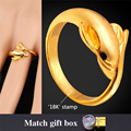 U7 Trendy Dolphin Ring For Women Yellow Gold Plated Cocktail Party Wedding Bands Ring Wholesale R105