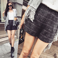 Woolen Shorts Female 2016 Autumn and Winter Casual Plaid Shorts High Waist Boot Cut Woolen Shorts Women Plus Size Grey Shorts