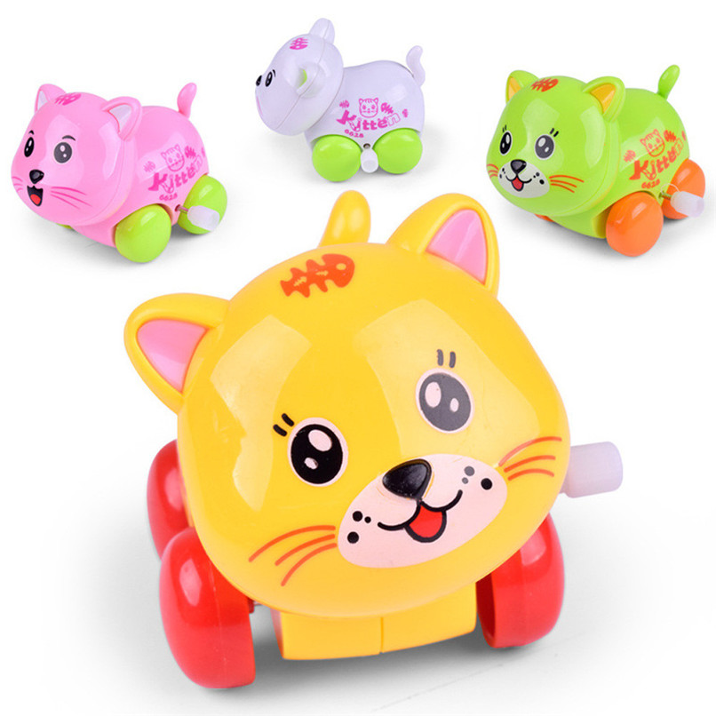 Random Color Education Toy Clockwork Wind Up Cartoon Cat Toy Kids Early Education Developmental Puzzle Toy wholesale JE19#F цены