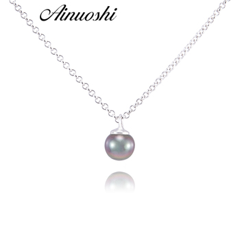 AINUOSHI 925 Sterling Silver Necklace Pendants Southsea Nautral Tahiti Black Pearl 8-9mm Round Pearl Engagement Pendants Jewelry