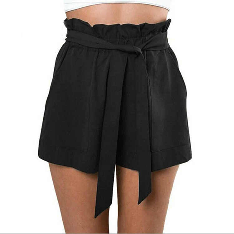 High Waist Short Beach Ruffle shorts Summer Casual Solid Color Fashion Women For Women
