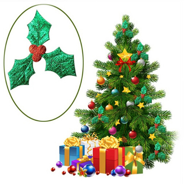 200pcspack 3cm red fruit with green leaves christmas tree decoration supplies diy art fabric