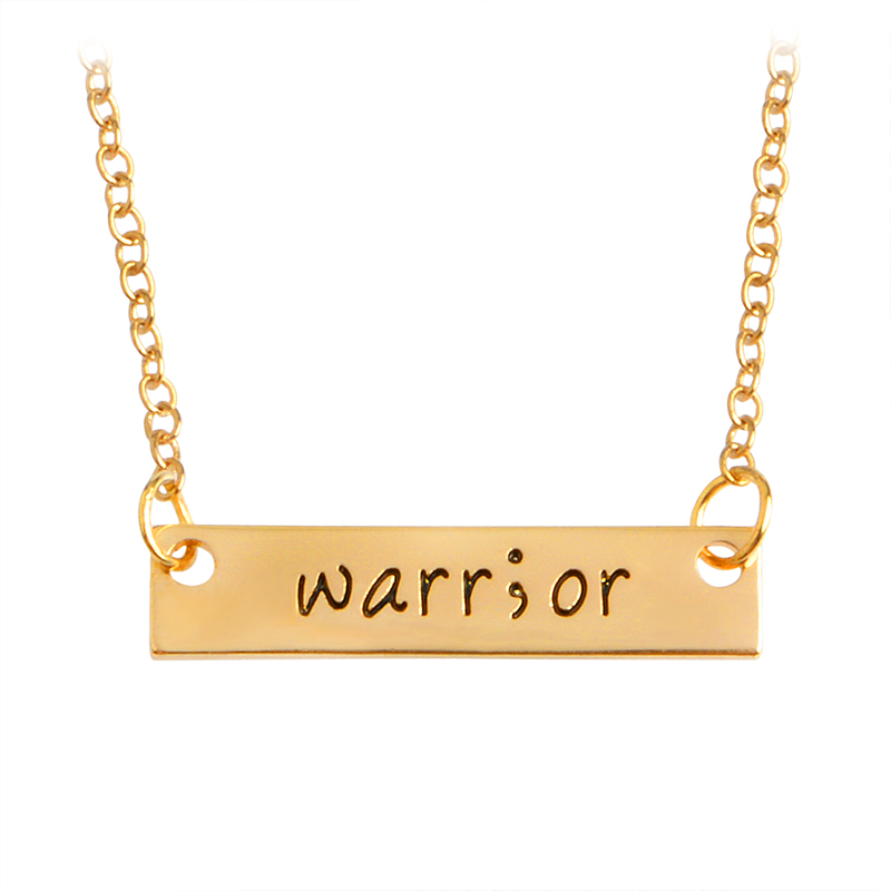 Engraving warr;or Warrior Bar Necklace Simple Fashion Valentines Day Gift Pendant Necklace Gold Silver Lovers Jewelry for Men