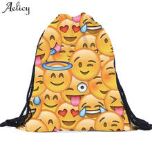 Aelicy 2018 Leisure Travel Backpack Clutch Bag 3D Smiley Emoji Face Printing backpack Female Women School Bag Teenagers Mochila(China)