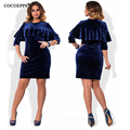 2017 Autumn Winter large size Velvet dress casual women Slim dresses big size vestidos NEW plus size wome clothing Ruffled dress