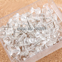 Free shipping 2500pcs/lot transparent clear plastic push pin nail thumb tack for soft board home office school