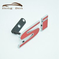 HB 1Set New 3D Metal Chrome Red SI S I Logo Badge Car Front Grille Grill