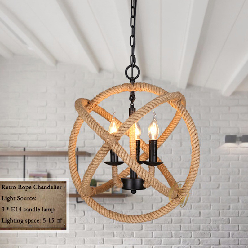Hand winding Iron hemp rope Pendant Lights Round restaurant cafe bar retro personality stairs lighting AC 110V 220V E14 3 Lamps