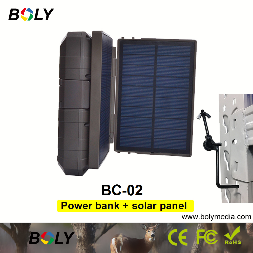 Boly caméra de chasse caméras de piste accessoires caza batterie externe mobile plus chargeur portable de panneau solaire