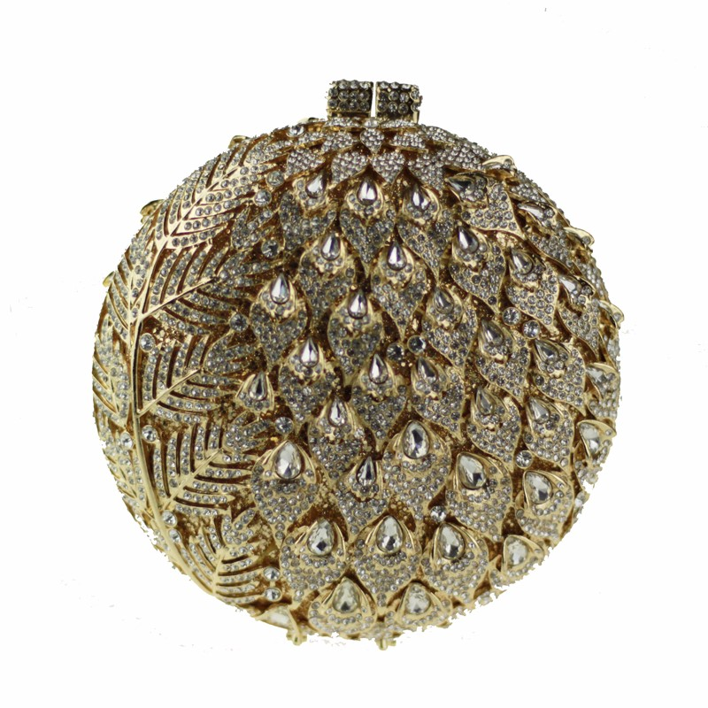 round crystal clutch bag golden8