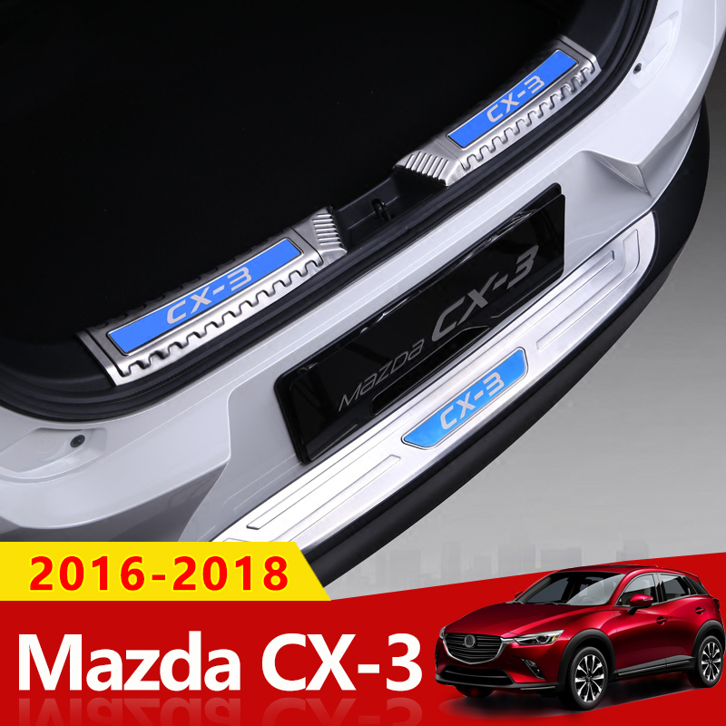 Stainless Steel Car Rearguards Rear Bumper Trunk Sill Plate Protector Guard Covers For Mazda CX3 CX