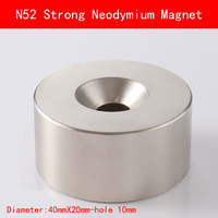 1pcs N45 N52 40x20 Hole 10 Mm Strong Powerful Neodymium Magnet Permanent Magnet 40 20 Hole