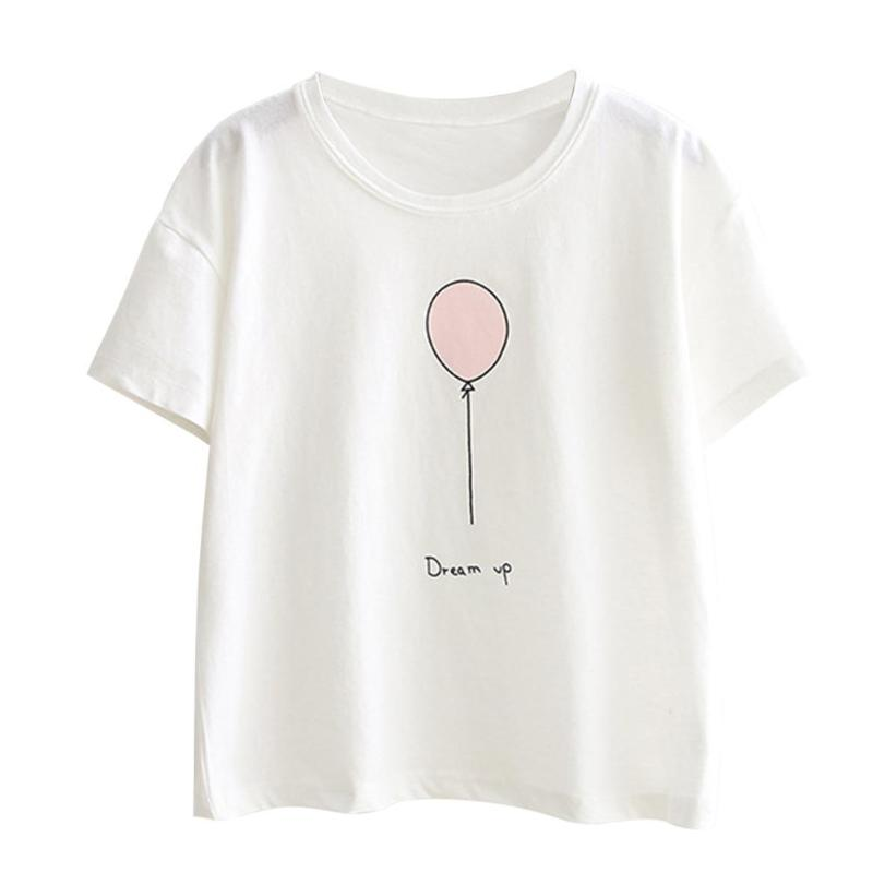 Summer Women Girls Short Sleeve Fashion Casual Loose O-Neck Embroidered Balloon T-shirt