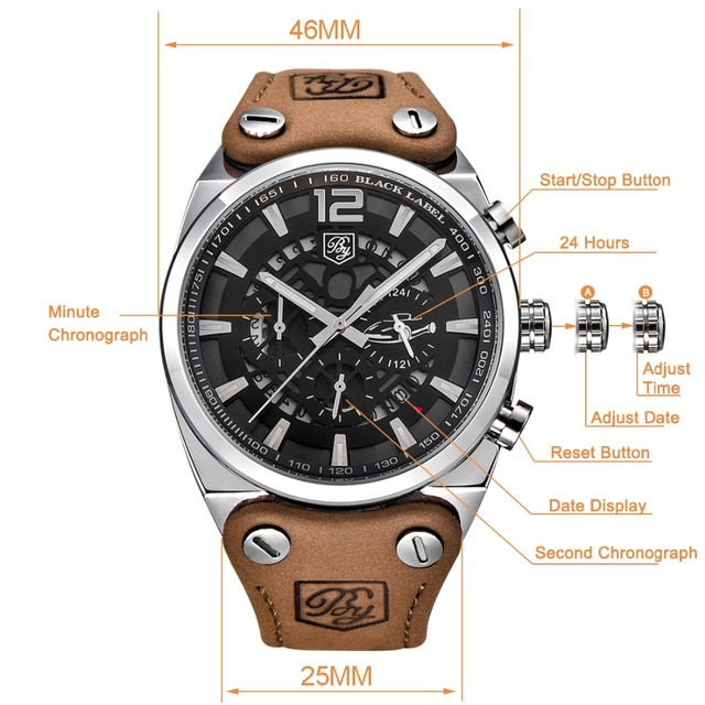 BENYAR Big Dial Sport Watch Men Waterproof Outdoor Military Chronograph Quartz Leather Watch Army Male Clock Relogio Masculino 2