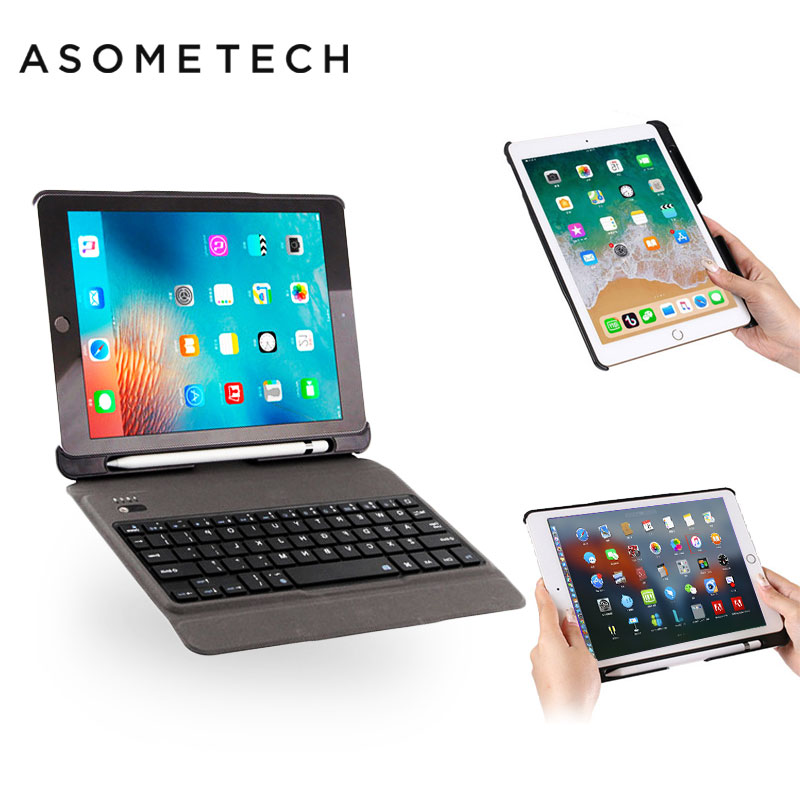 Wireless Bluetooth 3.0 Keyboard Case For Apple ipad 2018 9.7 Air 1 2 Pro 9.7'' W/ Pencil Slot Stand Folio Foldable Cases Cover цена