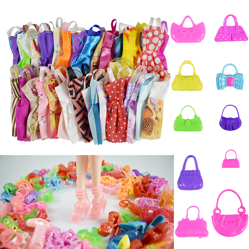 New 25 Pcs Doll Accessories = 10 Pcs Beautiful Barbie Doll Clothes +10 Pair Shoes +5 Doll Bag For Barbie Doll Kid's Toy Gift random 12 pcs mixed sorts barbie doll fashion clothes beautiful handmade doll party dress for barbie dolls girl gift kid s toy
