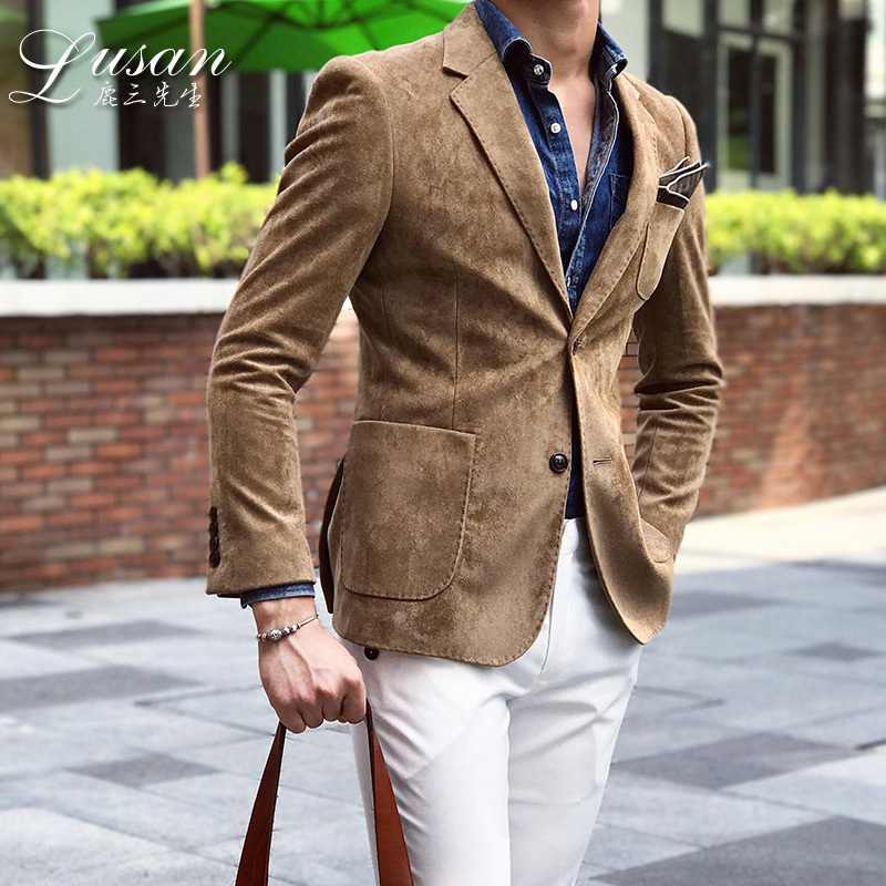 Leisure Time Suit Male Self-cultivation Loose Coat 2019 Autumn England Handsome Trend Deerskin Down Small Western