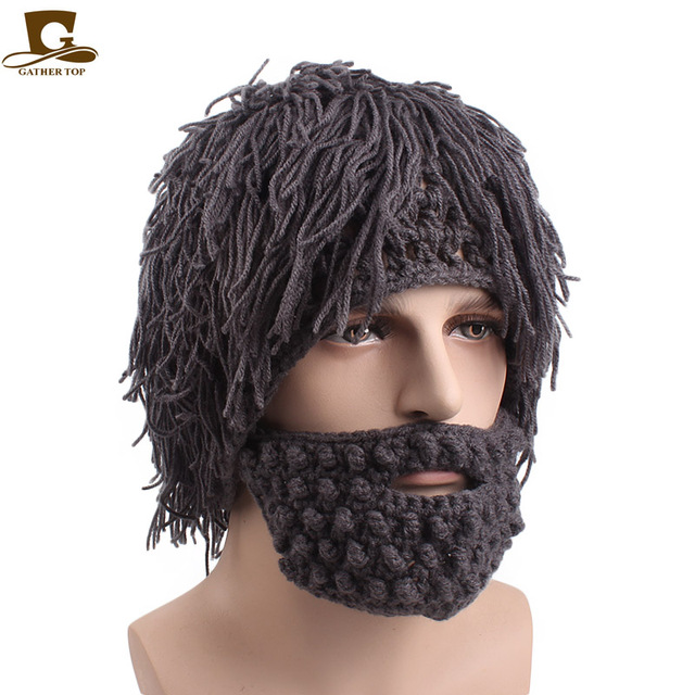 New Handmade Wig Beard Hats Knit Warm Winter Caps Hobo Mad Scientist  Caveman Men Women Halloween Gifts Funny Party Beanies ee8f47da982