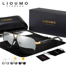 LIOUMO Aviation HD Driving Photochromic Sunglasses Men Polar