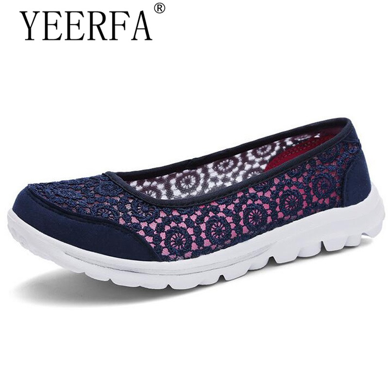 YIERFA 2017 NEW Flower Hollow Out Women Flats Super Light Casual Spring Summer Shoes big size 35-41 blue red beyarne new spring and summer women flats shoes women pafty shoes candy color shoes have size 35 41 free shipping