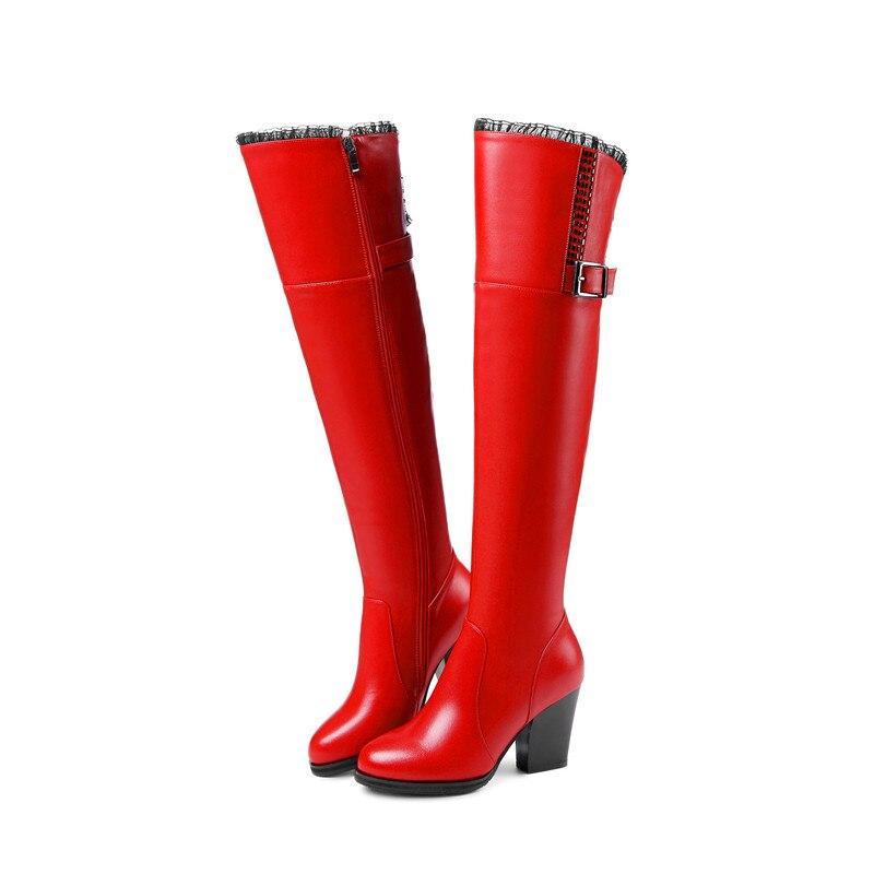 Marque 37 Femmes Chaussures Warmful Véritable Lvabc Black red Genou Naturelle Bottes En Haute Qualité Cuir Nouvelle D'hiver 2018 Laine tqwEwa