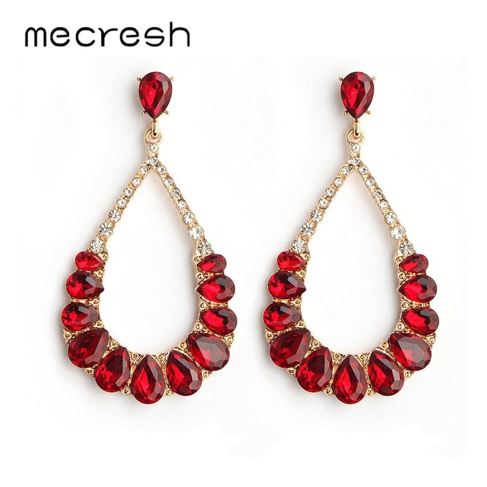 Mecresh Silver Blue Red Crystal Vintage Drop Earrings Minimalist Jewelry Simple Teardrop Bridal Wedding Earrings For Women H1436