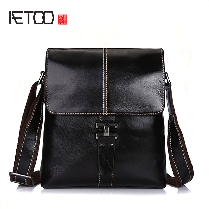 AETOO New leather Messenger shoulder bag head layer cowhide business casual men bag vertical section briefcase men bag IPAD bag ipad bag handbags male vertical section business briefcase men bag korean trendy men crazy horse bag messenger bag 2016 new