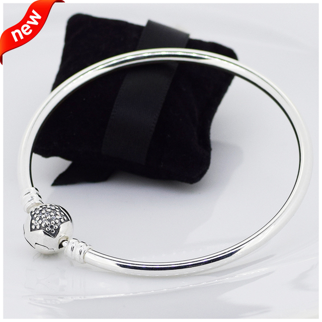 Moments Star Clasp Bangles with Clear Cubic Zirconia 100% 925 Sterling Silver Fine Jewelry Free Shipping
