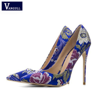 Vangull Woman Silver Embroider Pumps Stiletto Plus Size 33 43 Wedding High Heels Shoes Party Sexy Silk Blue Valentine Shoes