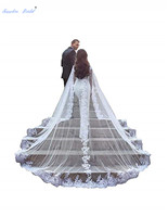Sapphire Bridal Women's Lace and Tulle 3m/4m Elegant Long Train Wedding Cape with Lace Edge Cloak Bridal Shawl Wrap Scarf