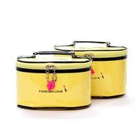 Homeda 2Pcs Set Lip Cosmetic Bag Portable Toiletry Travel Wash Makeup Brush Huge Capacity Waterproof Bolsa