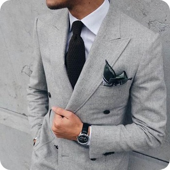 Tailored Made Grey Men Suits Formal Business Suit Peaked Lapel Prom Wear Slim Fit Male Blazer Jacket Pants 2Piece Costume Homme