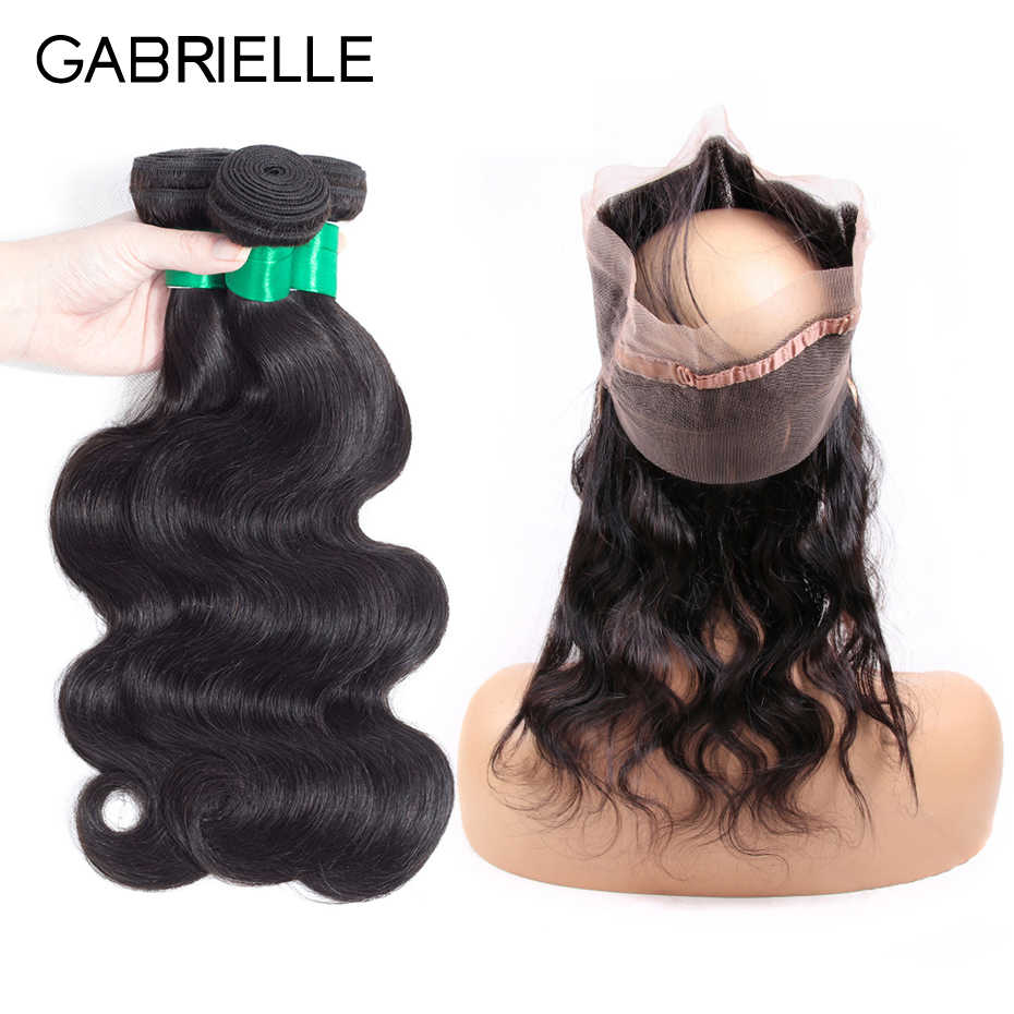 Gabrielle Peruvian Hair Body Wave 3 Bundles with Frontal 360 Natural Color 100% Human Hair with Lace Frontal 8-26 inch