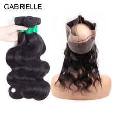 Gabrielle Peruvian Hair Body Wave 3 Bundles with Frontal 360 Natural Color 100% Human Hair with Lace Frontal 8-26 inch(China)
