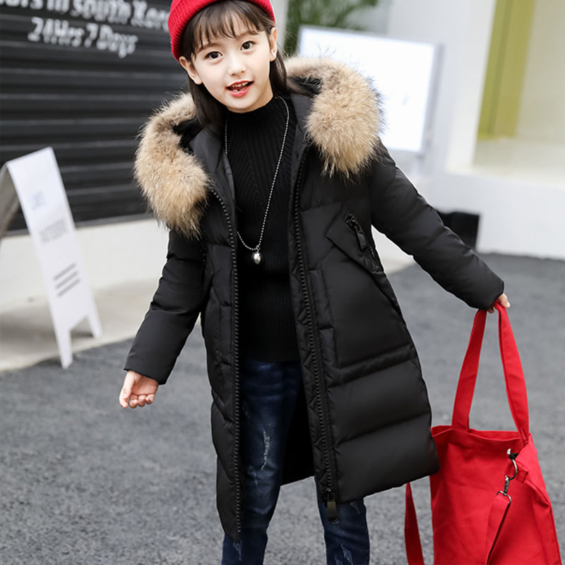 цена на Girls Winter Down Parka Jacket 2018 New Kids Snowsuit Warm Thicken Hooded Coat Girl winter Clothes 10 12 year Children Clothing