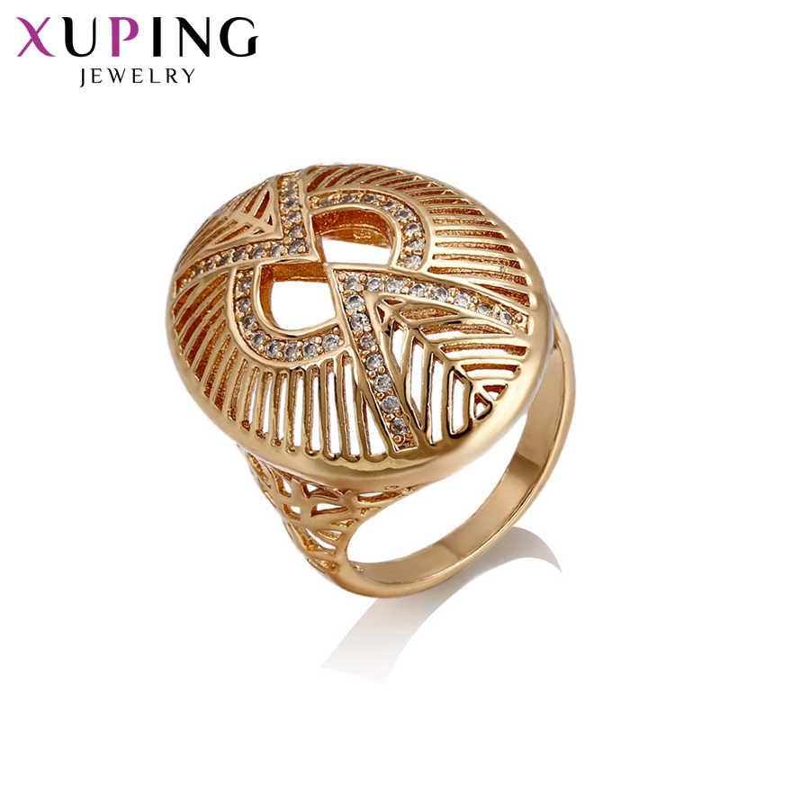 Xuping Luxus Ring Elegante Vintage Stil Neue Design Ring für Mädchen Frauen Gold Farbe Überzogen Schmuck Geschenk für Weihnachten S64, 4-14436