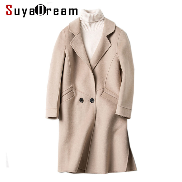 Women Wool Coat 80%Wool 20%Polyester Two Pockets Long coats 2017 ...
