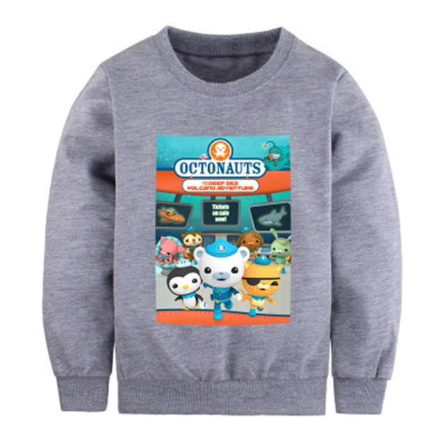 Winter Fall The Octonauts Thicking Sweater for Boys and Girls Long Sleeve Sports T Shirts Children Kwazii Cat Hooded Clothes