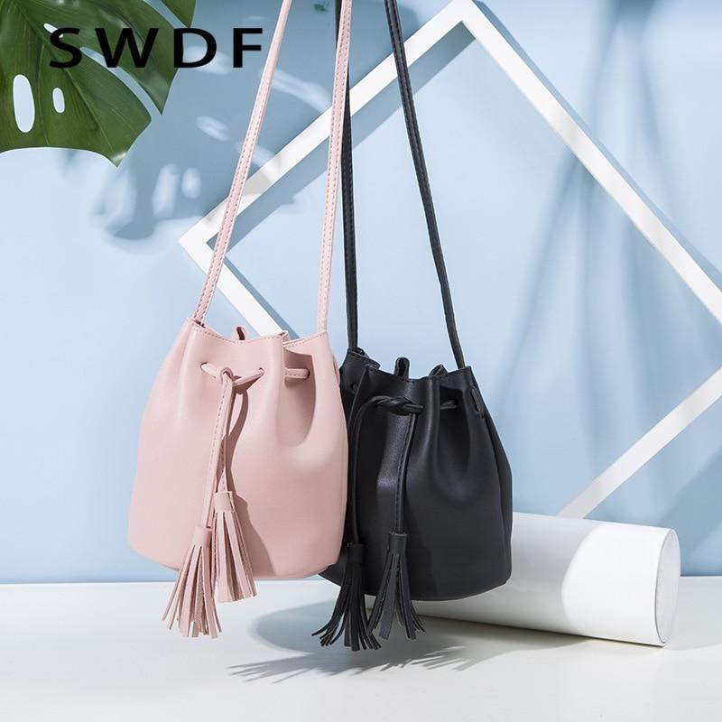 DAUNAVIA 2017 Women Drawstring Bucket Bag Women PU Leather Handbag Female Solid Shoulder Bag With Tassel Brand Tote Bag Black