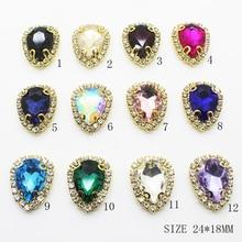 Metal Button 10Pcs/Set Glass Embellished 24*18MM Needlework DIY Wedding Ribbon Sewing Accessories