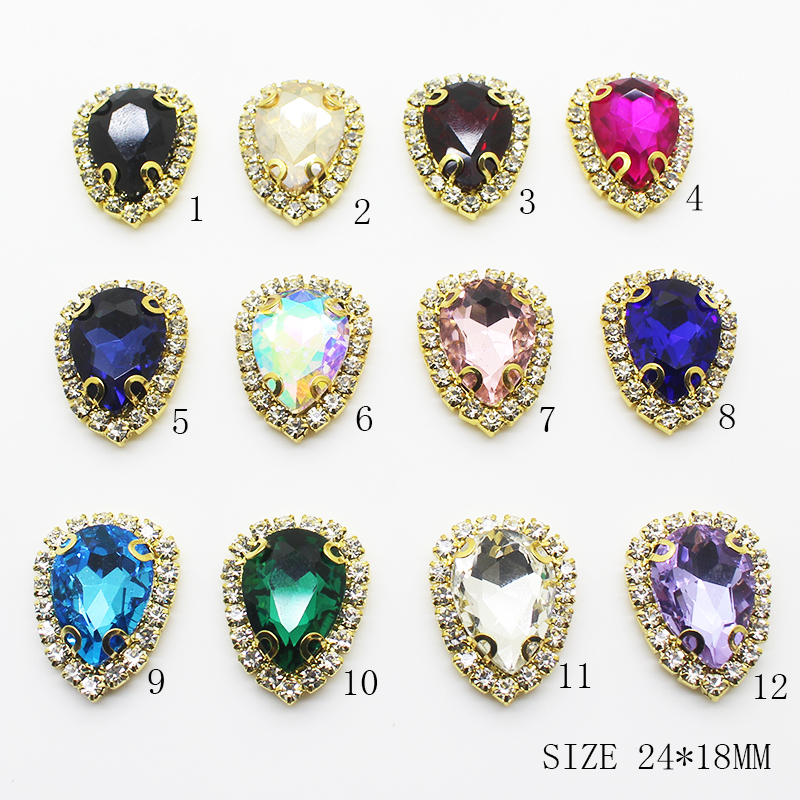 ZMASEY Wholesale Glass Buttons Gold 10Pcs/Set Inside 18*24mm Mix Color Wedding Decor Supplies Card Ribbon Sewing Accessories