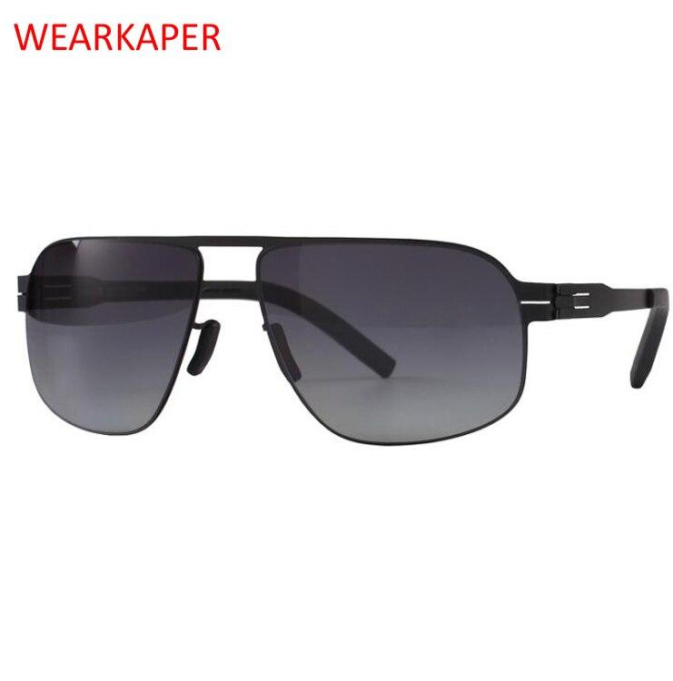 WEARKAPER New 100% Real Titanium No Screw Super elastic metal Sunglasses Men Women Sun Glasses Oculos Gafas