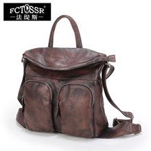 FCTOSSR 14 inch Laptop School Bags Retro First Layer of Leather Women Backpack 2018 Lady Shoulder Bag Outdoor Back Packs