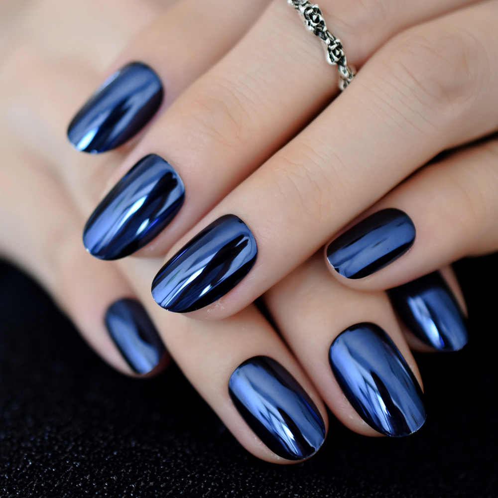 Metallic Oval Navy Blue Medium Nails Mirror Effect Chrome