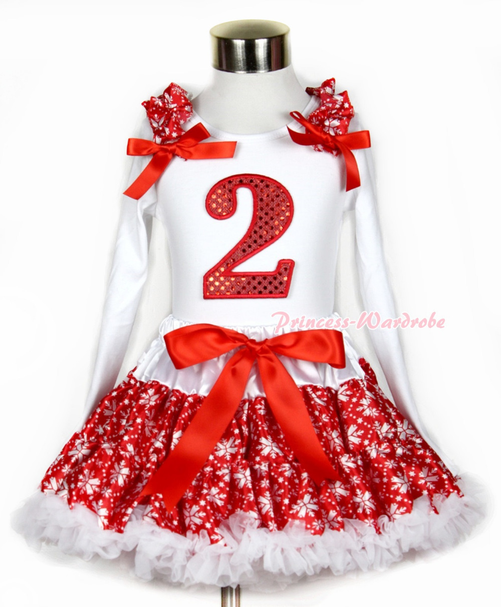 Xmas Red Snowflakes Pettiskirt 2nd Sparkle Red Birthday Print White Long Sleeve Top Red Snowflakes Ruffles and Red Bow MAMW265 red black 8 layered pettiskirt red sparkle number ruffle red bow tank top mamg575