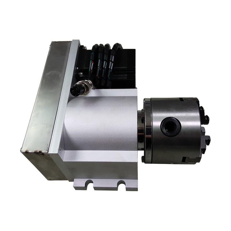 CNC machine pièces Un Axe Rotatif Axes poupée 4ème Axe avec 80mm 3 Mâchoires Mandrin